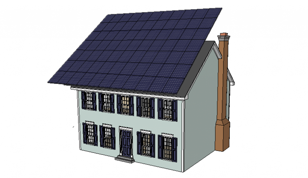 The amount of solar panels required to achieve net-zero energy on a typical existing house